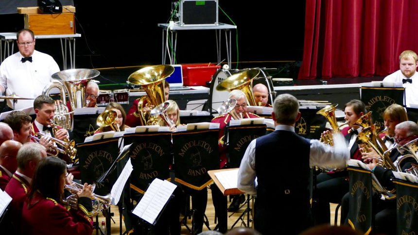Andrew Baker conducting Middleton Band in 'Perseverance' June 2016